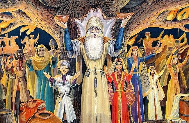 Первоначально черкесы поклонялись Солнцу, Золотому древу, Огню и Воде