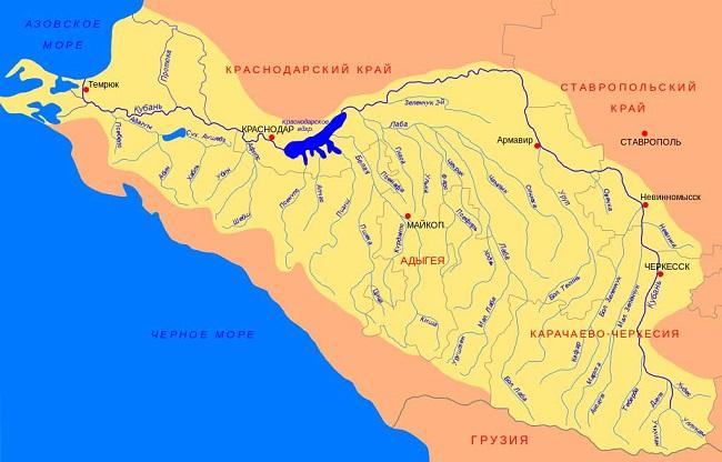 Река проходит по четырем регионам: Карачаево-Черкесии, Ставропольскому краю, Краснодарскому краю и Адыгее